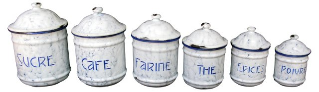 French Graniteware Canisters,  S/6
