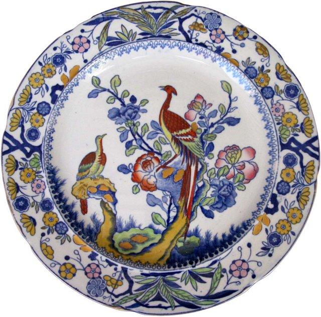Antique Mason's Pheasant Wall Plate