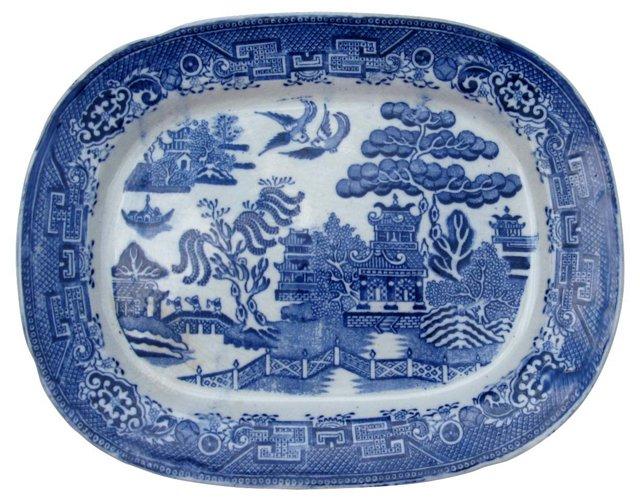 Antique Flow Blue Willow   Platter