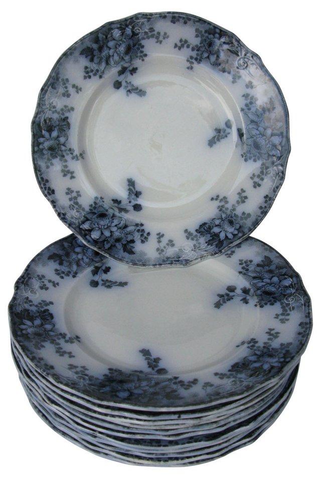 Flow Blue Floral Dinner Plates, S/12