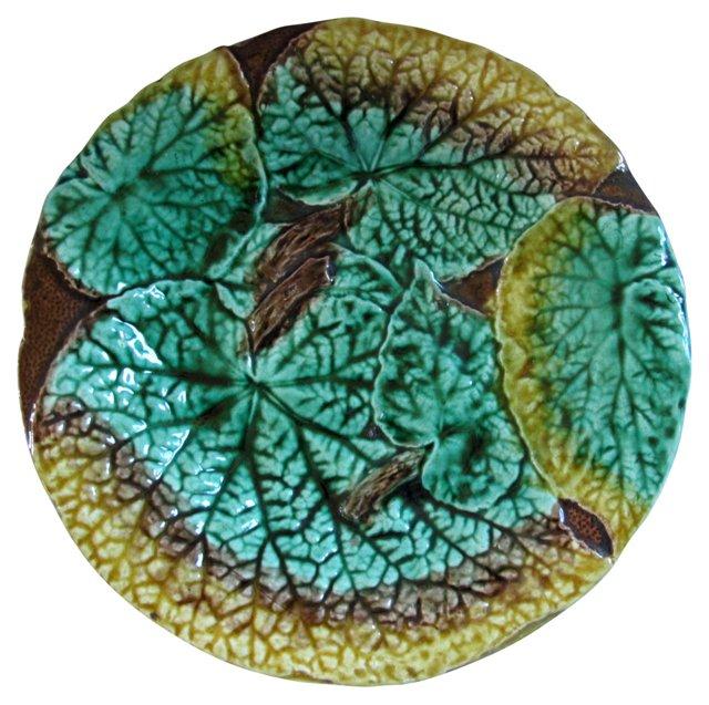 Antique Majolica Begonia Leaf  Compote