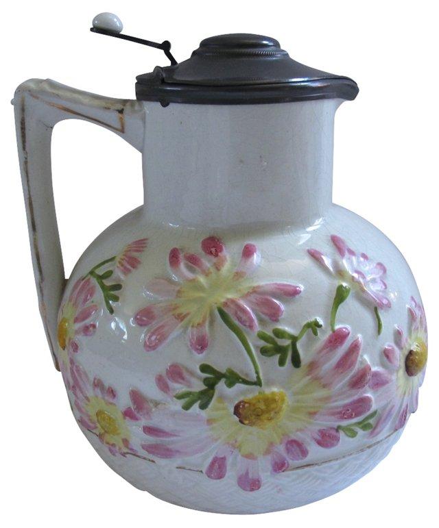 Antique Floral Majolica Pitcher