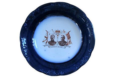 World War I Flow Blue Commemorative Bowl