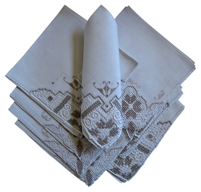 French Linen & Lace Napkins,   S/10