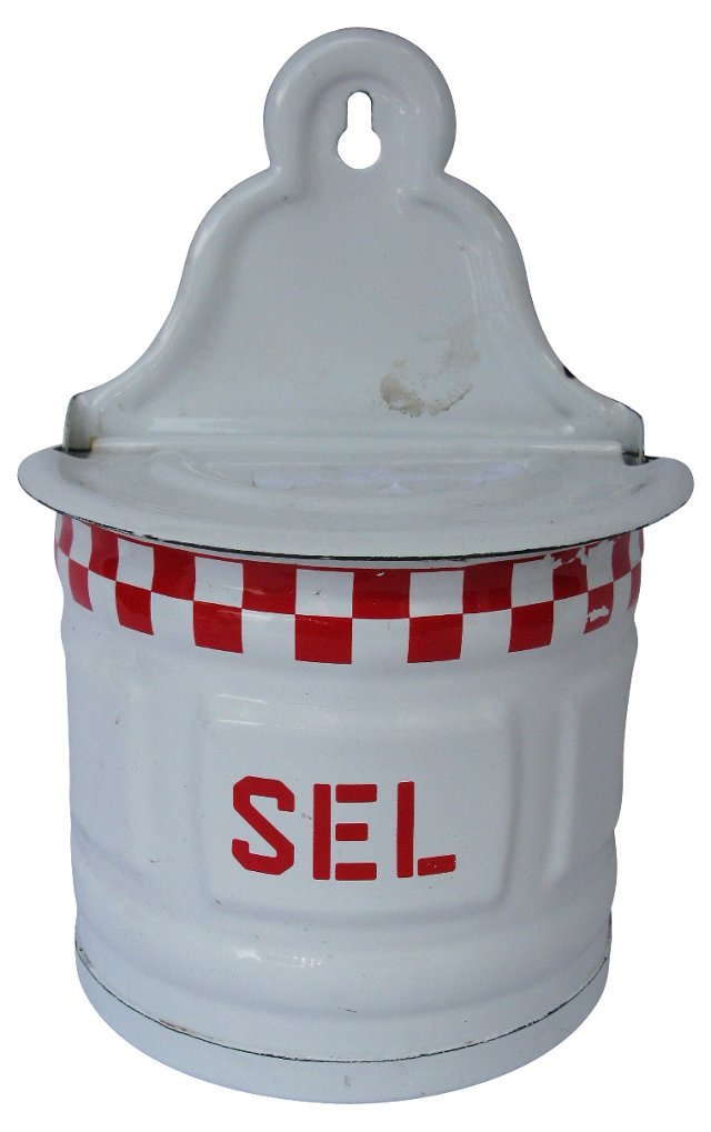 French Enamelware Hanging Salt Canister