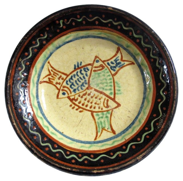 Antique French Stoneware Fish Bowl