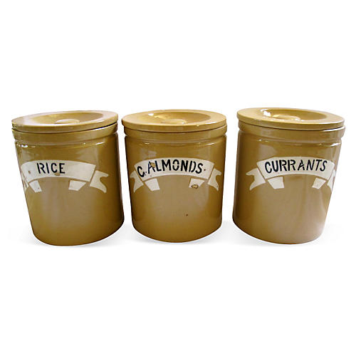English Stoneware Kitchen Canisters, S/3
