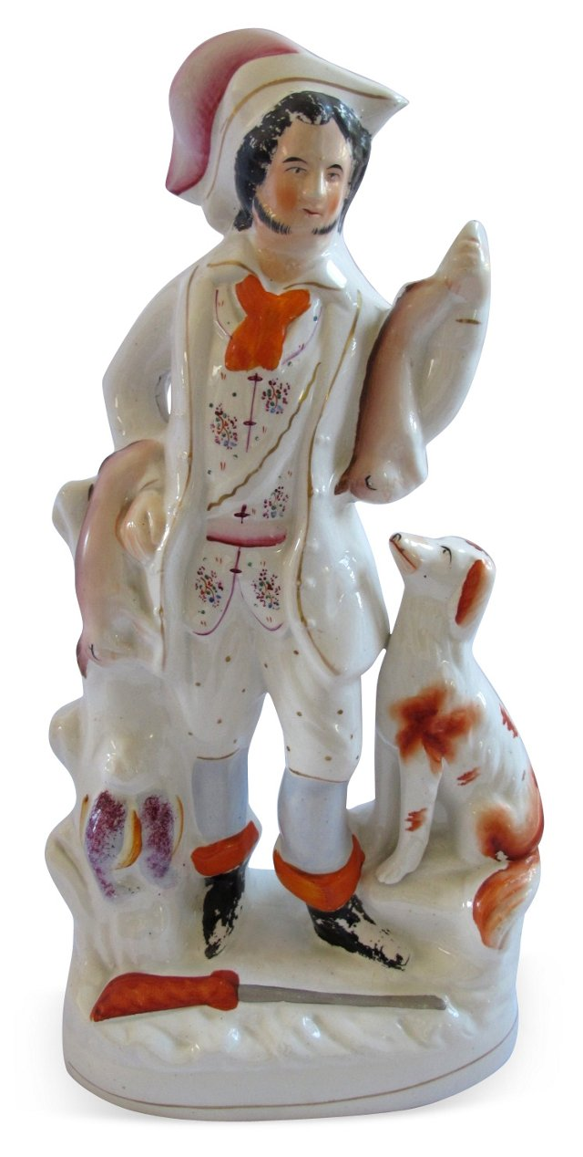 Antique Staffordshire Hunting   Figure