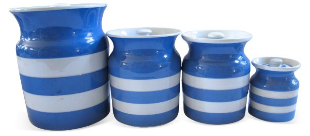 English Cornishware Canisters, S/4