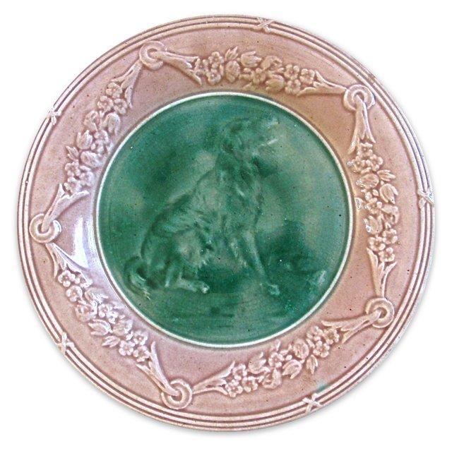 Antique Majolica Golden Retriever Plate