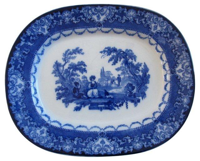 Flow Blue Doulton Watteau Platter