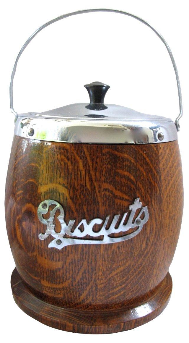 English Oak & Chrome Biscuit   Barrel