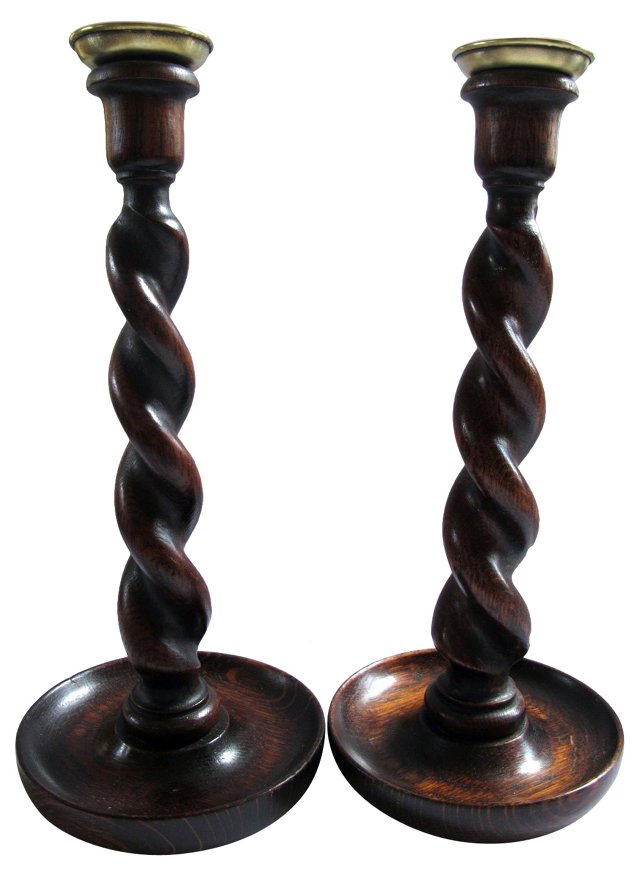 English Oak  Twist  Candleholders,  Pair