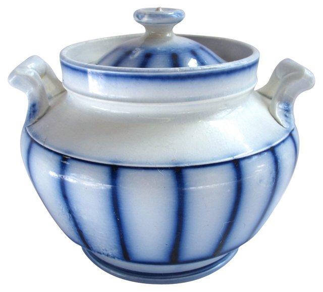 Early Flow Blue Sugar  Bowl, C. 1840