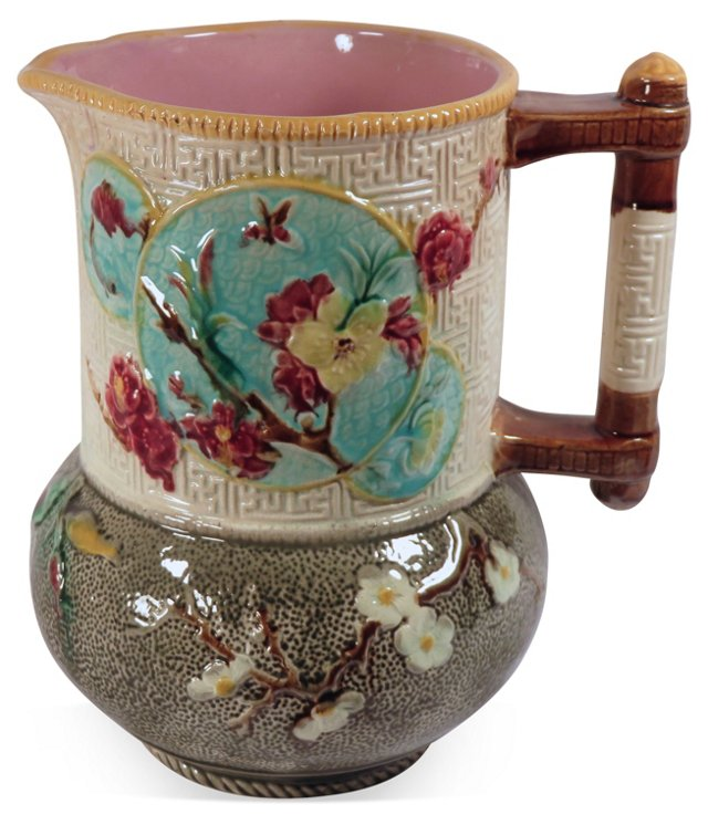 Antique  Majolica  Floral  Pitcher