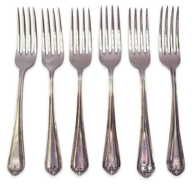 Heavy Silverplate Salad Forks, S/6
