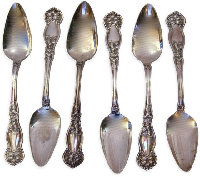 Heavy Silverplate Floral Spoons, S/6