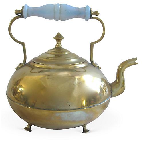 English Brass Teapot w/ Opaline Handle