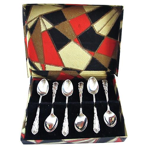Ornate Sterling Coffee Spoons, 1927