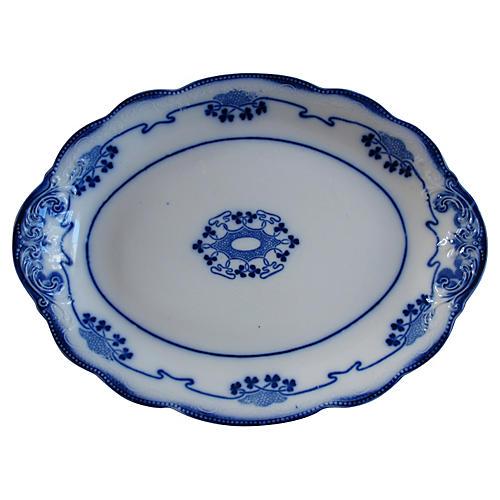 Antique Flow Blue Shamrock Platter