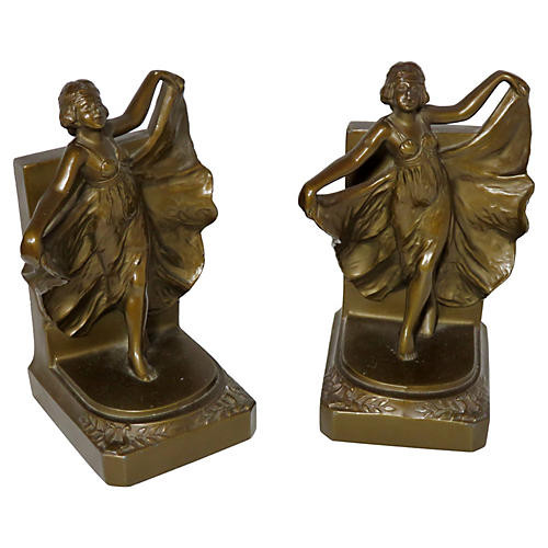 1920s Art Deco Dancing Girl Bookends