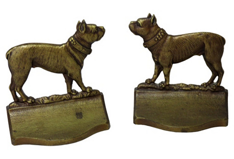 1920s Cast Iron Boston Terrier Bookends