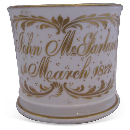 1877 Hand-Painted Porcelain Birth Mug