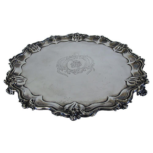 English Silverplate Monogrammed Tray