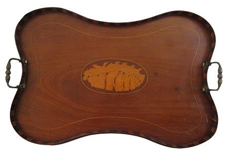 English Wood Inlaid Butler's Tray