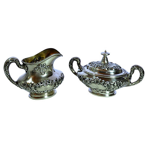 Antique Gorham Sterling Cream & Sugar