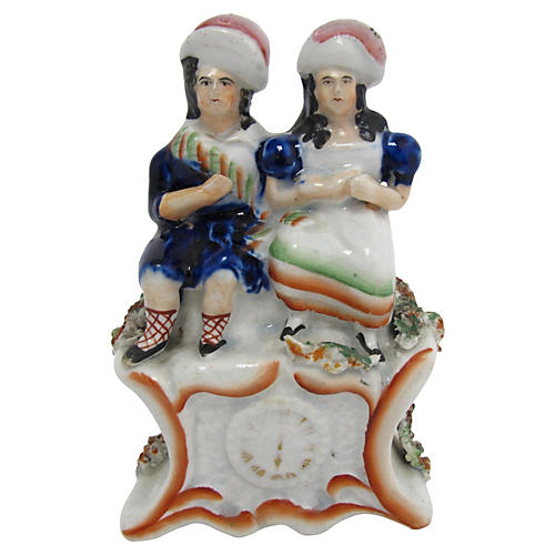 Antique Staffordshire Children On Clock