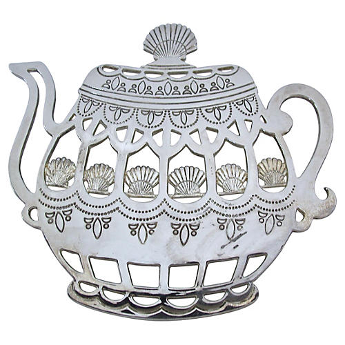 Victorian Silver-Plate Teapot Trivet