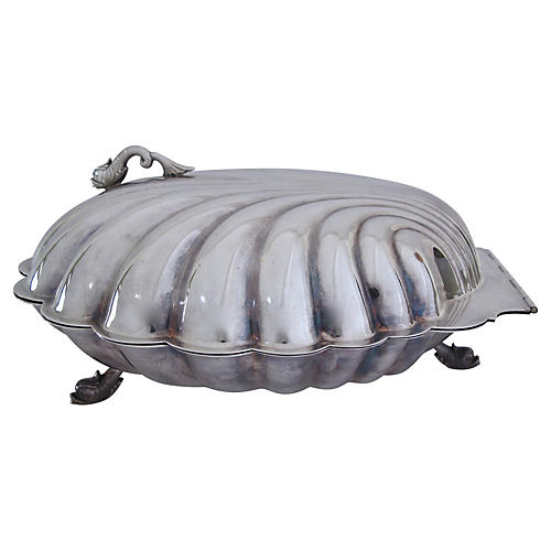 Large Silver Plate Shell Serving Dish