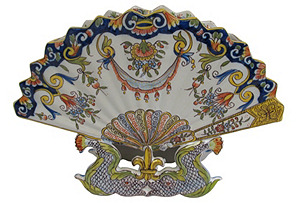 Antique French Faience   Large Fan Vase