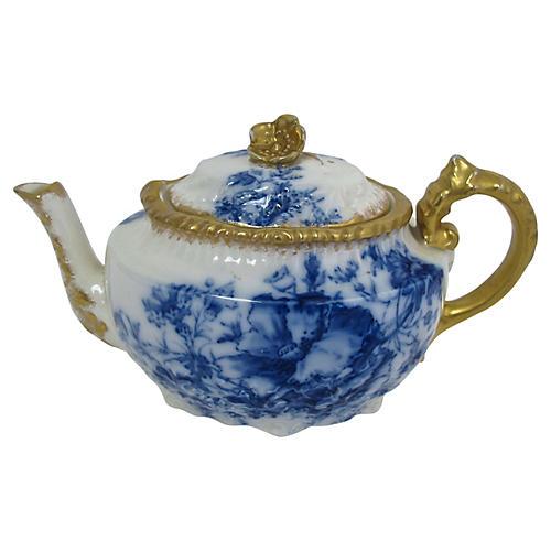 Antique Flow Gilded Blue Teapot