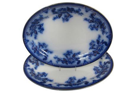 Antique Flow Blue Platters, S/2