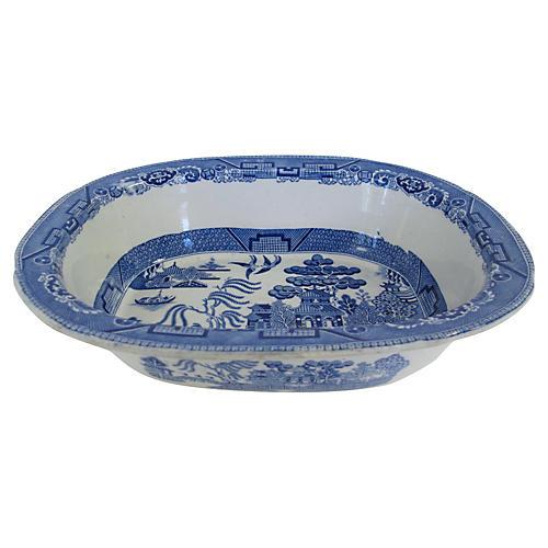 English Willow Large Game Dish, C. 1830