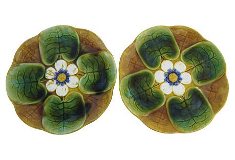 Majolica Lily Pad Wall Plates, Pair