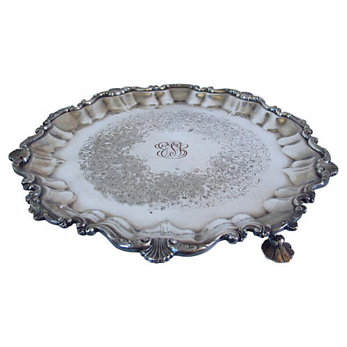 "Silver-Plate ""JBS"" Claw-Foot Salver"