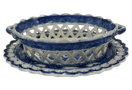 Willow Chestnut Basket & Tray, C. 1820