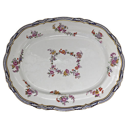 Antique English Floral Porcelain Platter