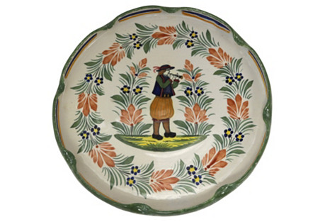 French  Quimper  Faience Wall  Charger