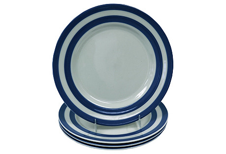 English Cornishware Salad Plates, S/4