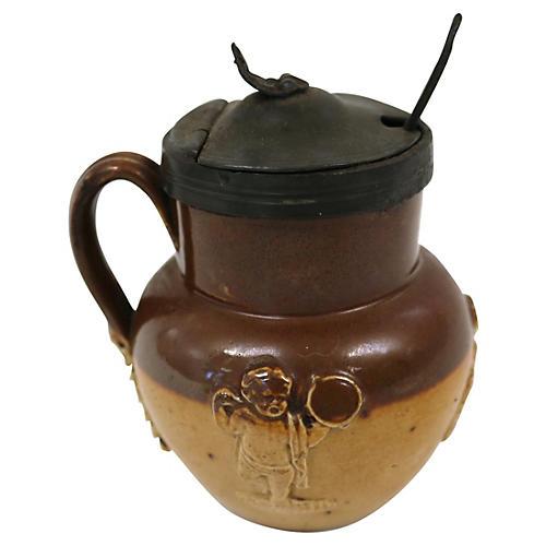 Doulton Lambeth Cherub Mustard Pot
