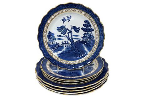 English Willow Pattern Plates, 8 Pcs