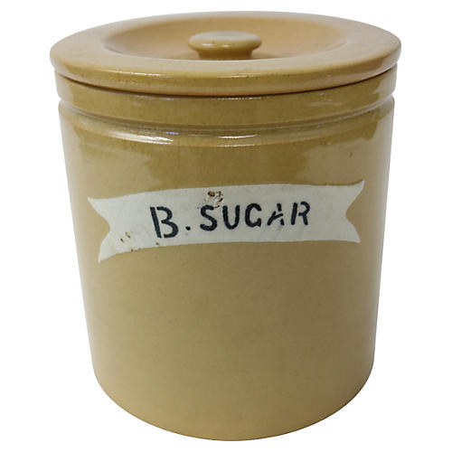 English Stoneware Brown Sugar Canister
