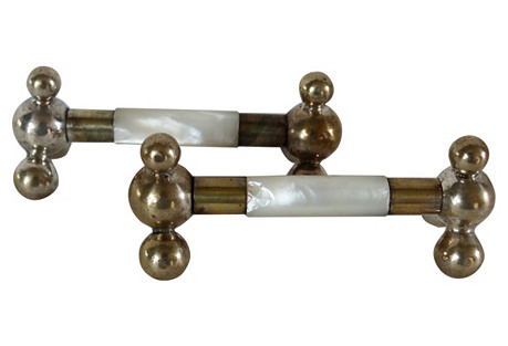 English Pearl Knife Rests, Pair
