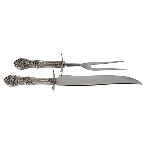 Heavy Sterling Handle Carving Set, 2-Pcs