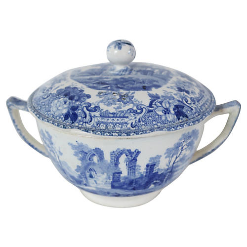 1830s English Transferware Serving Bowl