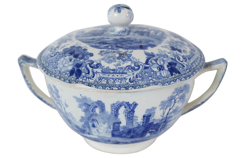 1830s English Transferware Serving Bowl
